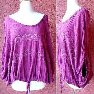 Free People Gauze And Lace Top